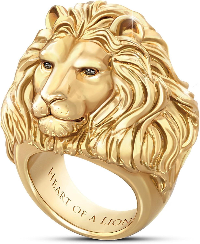 Bradford Exchange Heart of A Lion 24K Gold-Plated Men's Ring