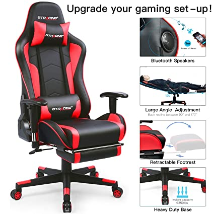 Attirant Amazon.com: GTRACING Music Gaming Chair With Footrest And Bluetooth Speakers  Video Game Chair Heavy Duty Computer Office Desk Chair GT890MF Red (Red):  ...