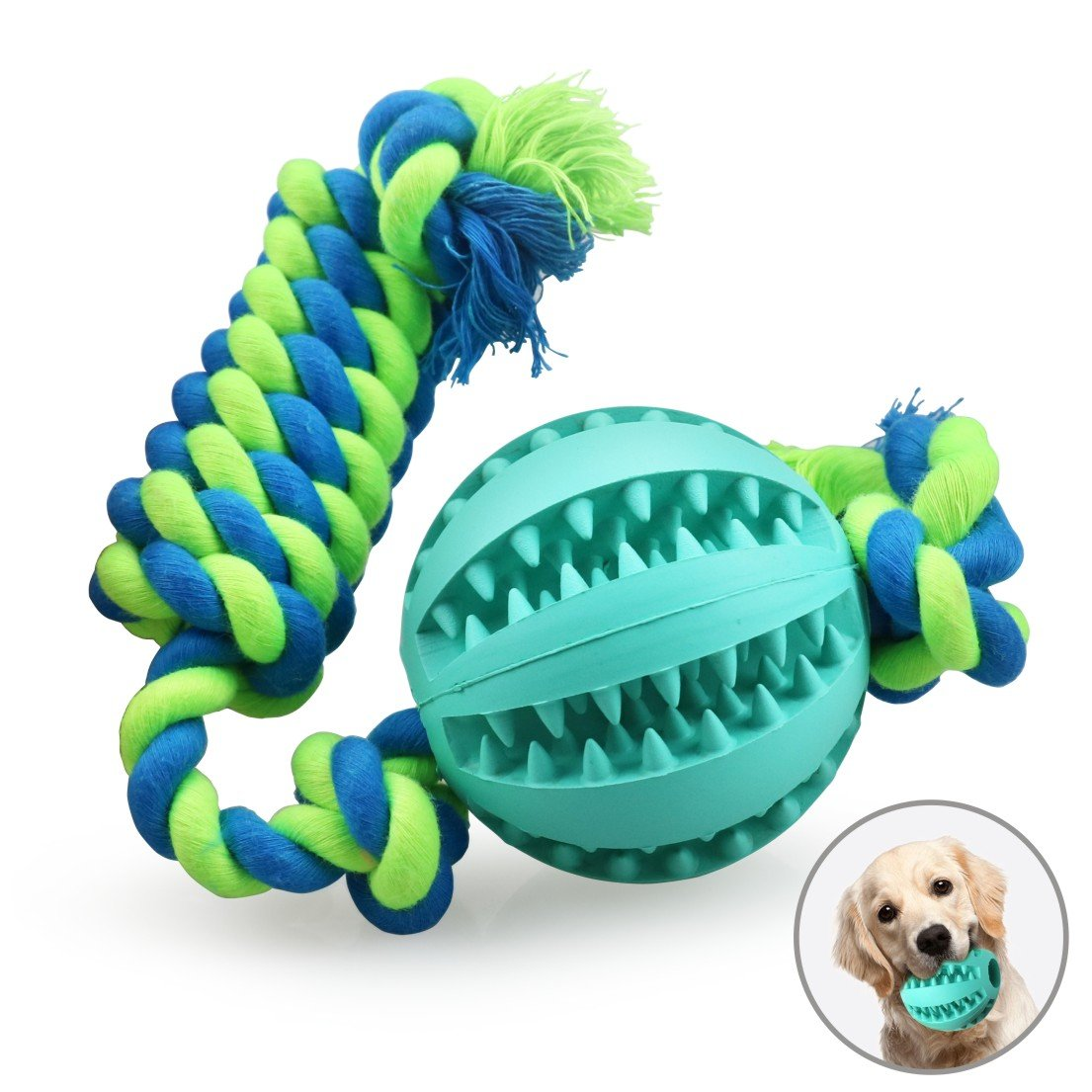 Idepet Pet Toys Bite Resistant Dog Chew Ball Safe Rubber Pull Rope Ball Dog//Cat Nontoxic Durable Interactive Pet Exercise Game Ball for Dogs//Cats//Puppies Pet Tooth Cleaning//Chewing//Playing//IQ Training