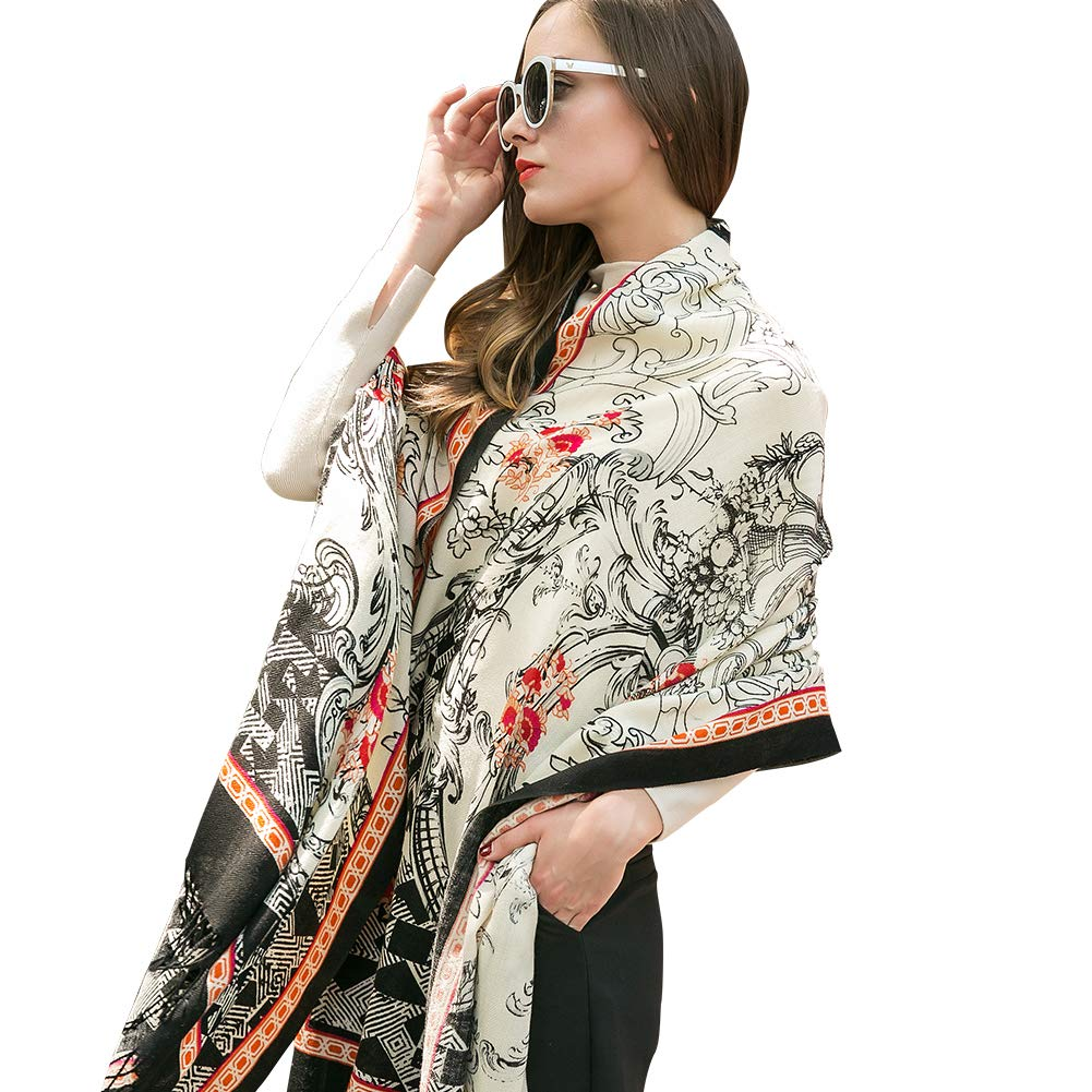 White&Black DANA XU Pure Wool Ponchos Blanket for Women Large Pashmina Shawls and Wraps (bluee&White)