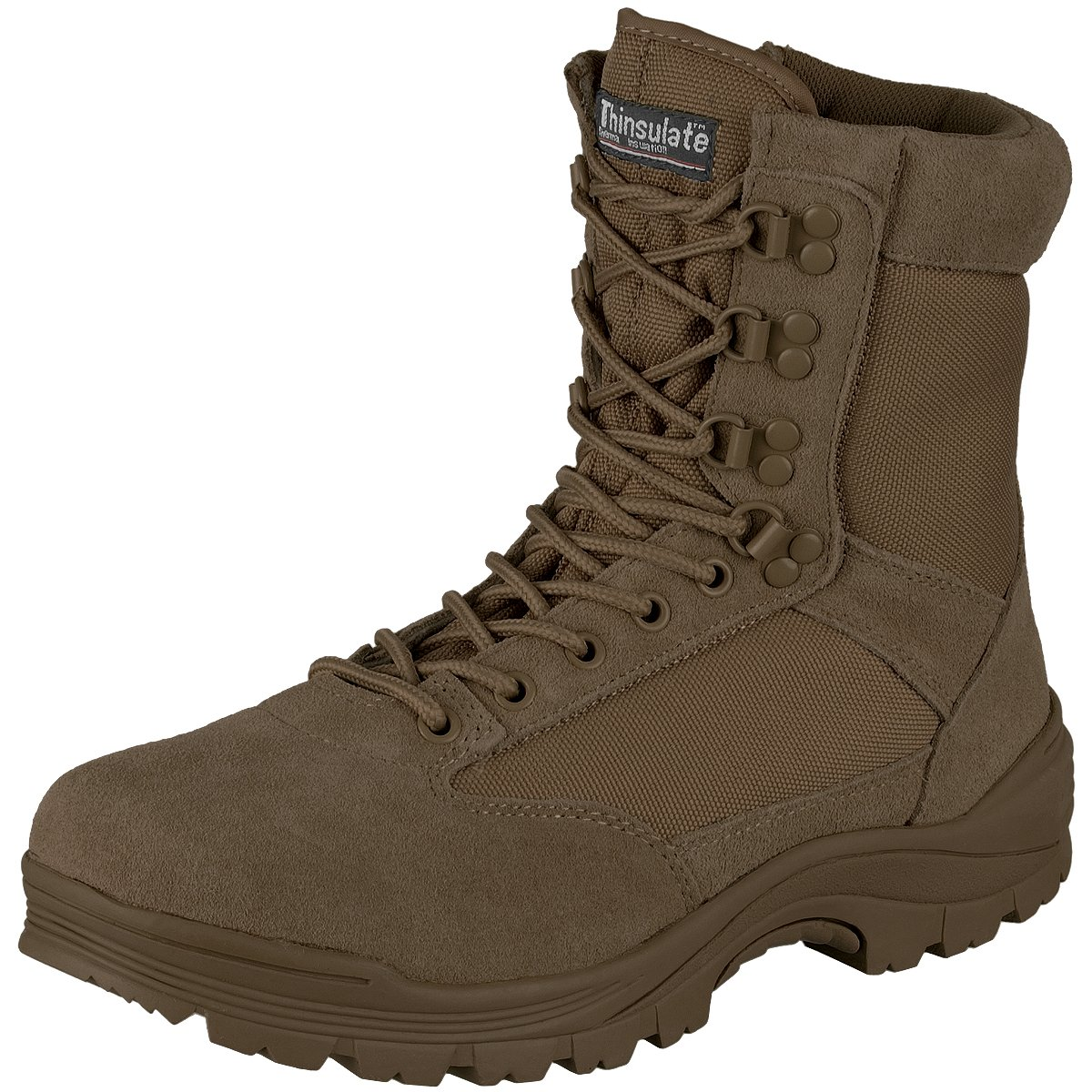 Mil-Tec Men's Tactical Zipper Boots Brown Size 9 UK / 10 US