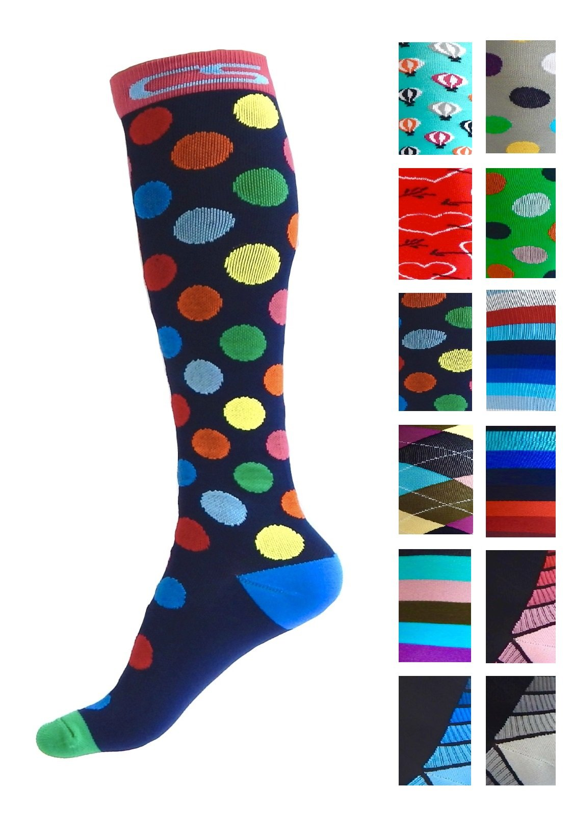 Compression Socks for Men & Women - BEST Graduated Athletic Fit for Running, Nurses, Shin Splints, Flight Travel, Maternity Pregnancy - Boost Stamina, Circulation & Recovery (Cool Dots, S/M)