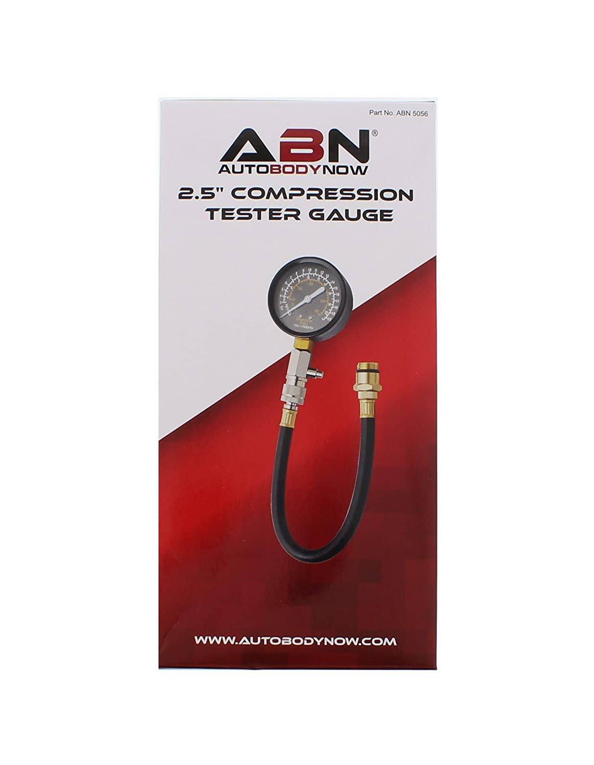 ABN Compression Tester and Adapters Dual Automotive Compression Gauge with 14mm and 18mm Compression Tester Adapter
