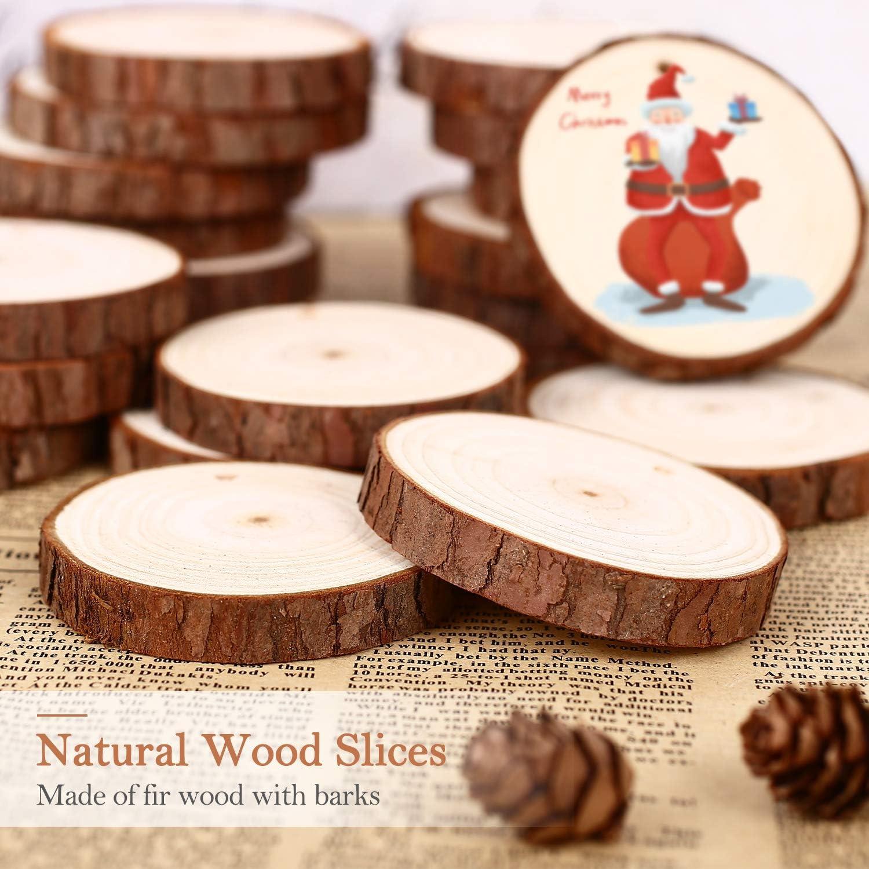 SOLEDI Tranches de Bois Naturel 15 Pcs 4.4-4.8 Craft Wood kit Inachev/é en Bois Id/éal pour Les Arts et lartisanat D/écorations de No/ël Artisanat Bricolage