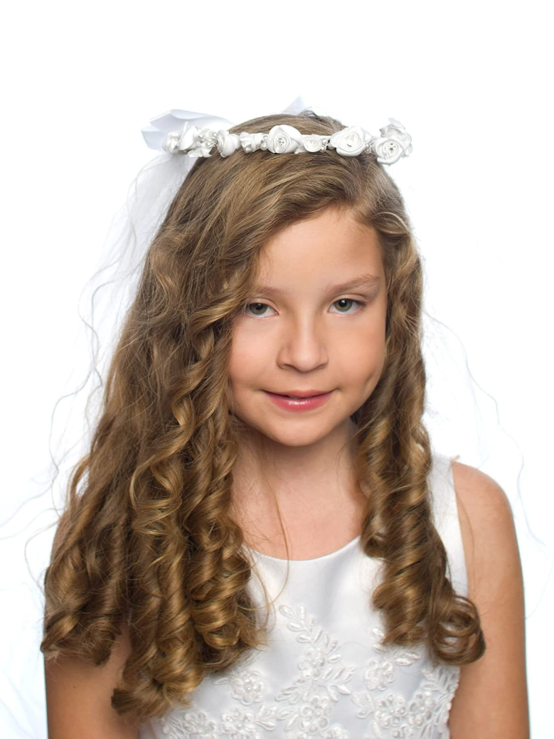Dressforless Girls Corded Flowers with Rhinestone Accents First Communion Veil