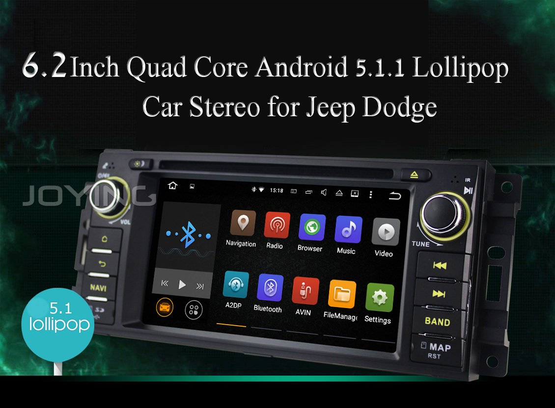 """Amazon.com: JOYING Quad Core Android 5.1 Car Stereo GPS DVD Player for Dodge  Ram Challenger Jeep Wrangler JK Head Unit Single Din 6.2"""" Touch Screen  Indash ..."""