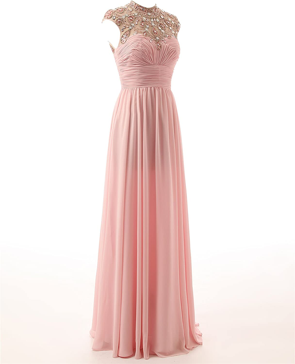 Changjie Damen High Neck Empire Plissee Lange Abiballkleid Chiffon  Abendkleider Formal Gown