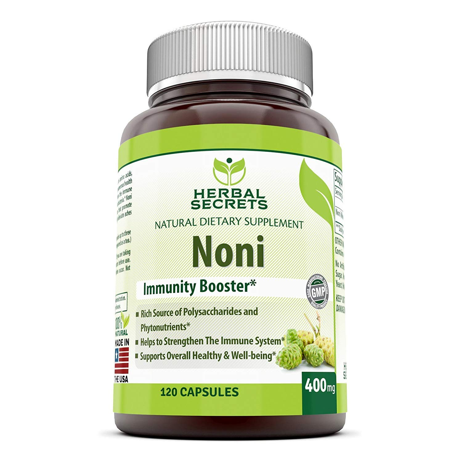 Herbal Secrets Noni - 400 Mg 120 Capsules (Non-GMO) - Helps to Strengthen The Immune System* Supports Overall Health and Well Being*