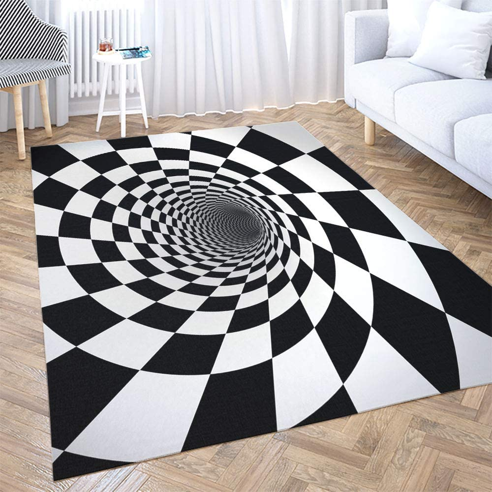 Amazon Com Jacrane 5x7 Area Rug Black Area Rug For Women Striped Outdoor Rug Black Rug Black And White Spiral 3d Black And White Throw Rugs Area Rugs Washable For Farmhouse Rustic Area