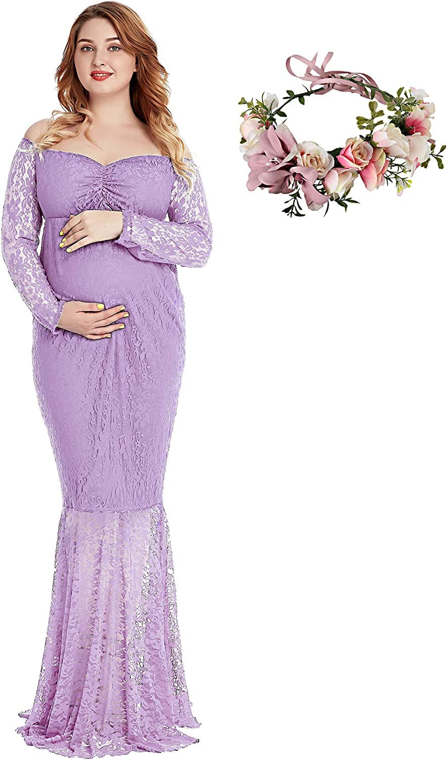 YOFEEL Pregnant Women Off Shoulder Long Sleeve Lace Maternity Gown Maxi Photography Dress
