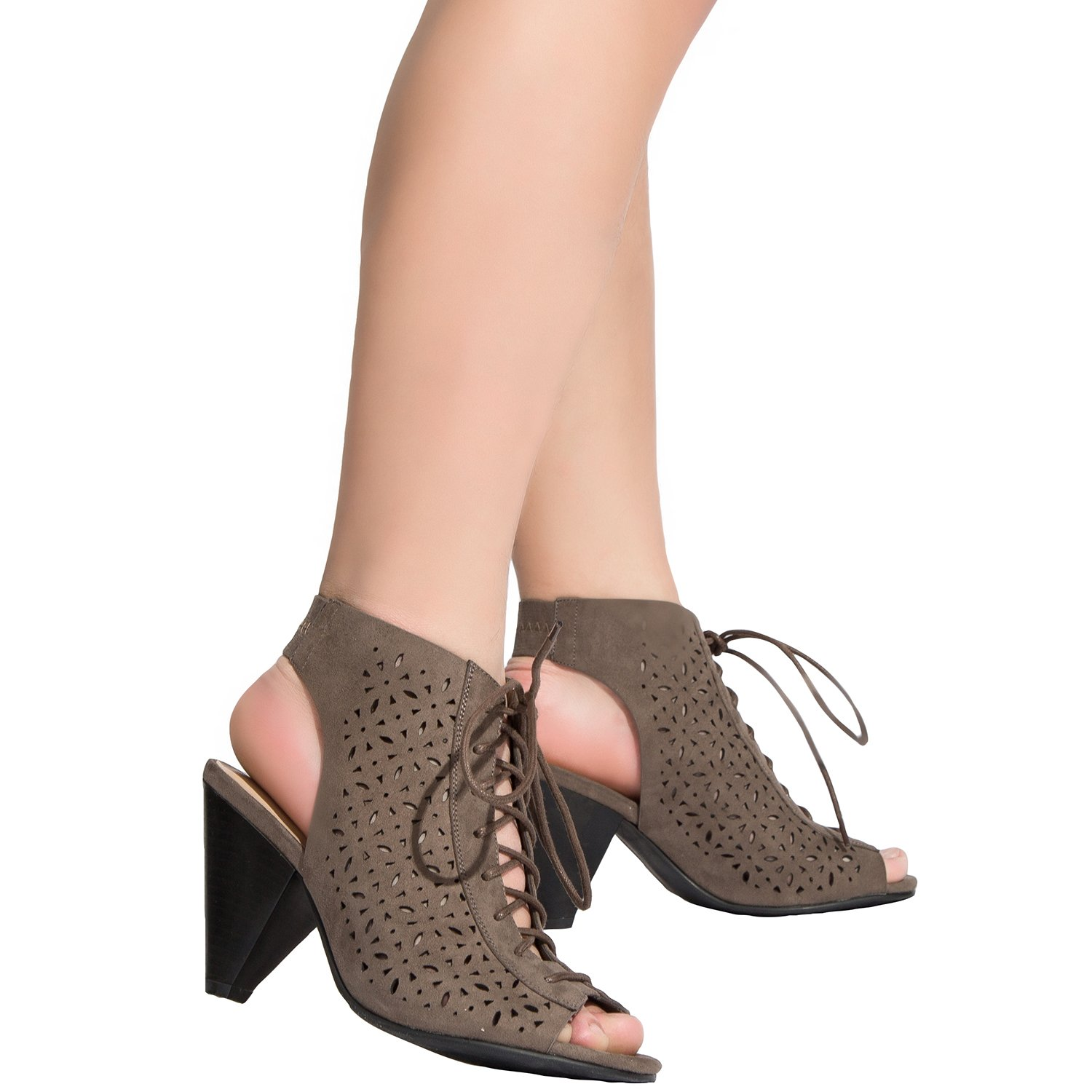Women's Wide Width Heeled Sandals - Lace up Open Toe Elastic Ankle Strap Suede Boots Shoes.(Khaki,180327,Size13)