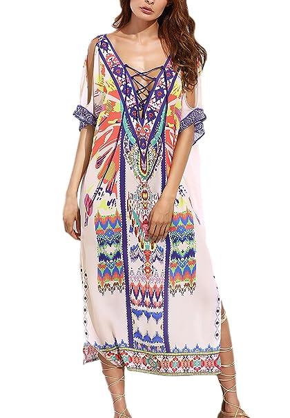 ... V Cuello Suelto Vintage Estilo Etnica Bohemio Estampados Hippie Moda Vestidos Playa Vestidos Largos Vestidos Camiseros: Amazon.es: Ropa y accesorios