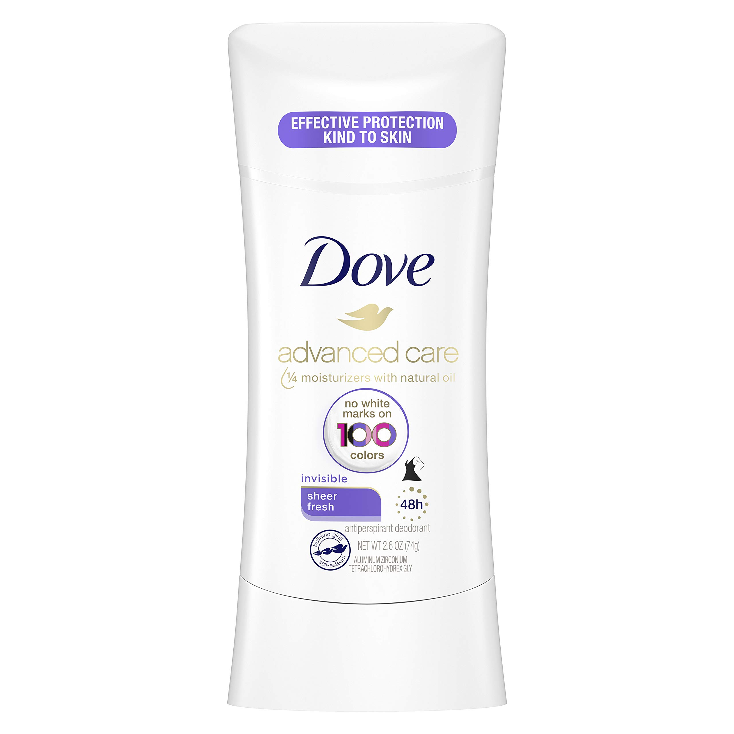 Dove Advanced Care Invisible Antiperspirant Deodorant Stick No White Marks on 100 Colors Sheer Fresh 48-Hour Sweat and Odor Protecting Deodorant for Women 2.6 oz
