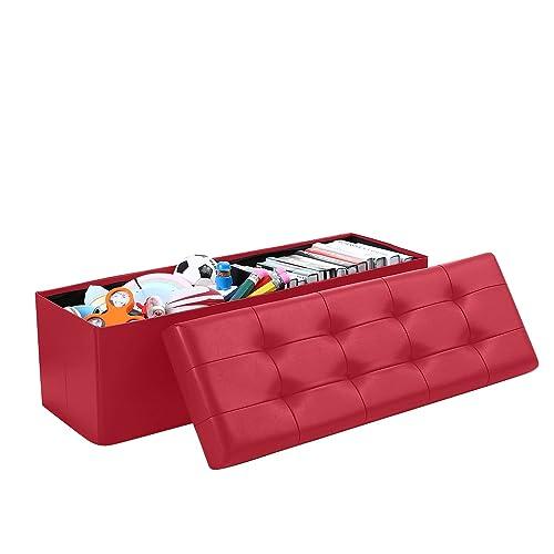 Home Sweet Home Ottoman Faux Leather Bench Folding Box Storage Large Size 15 x 45 x 15 , Burgundy