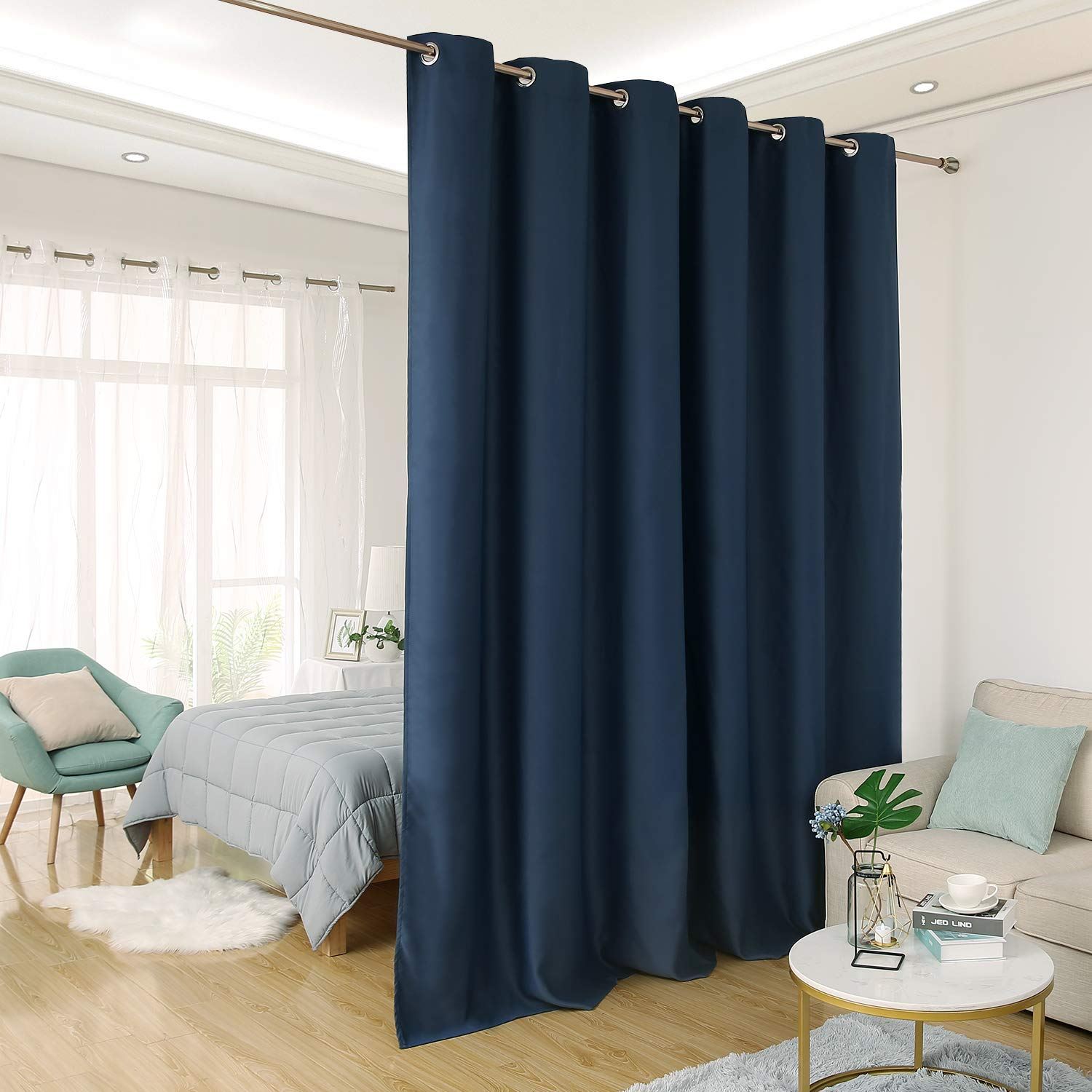 Navy bluee 10ft Wide x 8ft Tall Deconovo Room Divider Curtain Extra Wide Curtains Privacy Grommet Thermal Insulated Room Darkening Panel Curtains for Sliding Door, 10ft Wide x 9ft Tall Greyish White 1 Panel