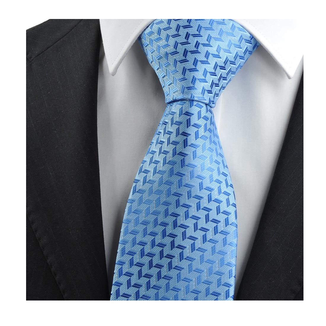 Blue geometric striped tie