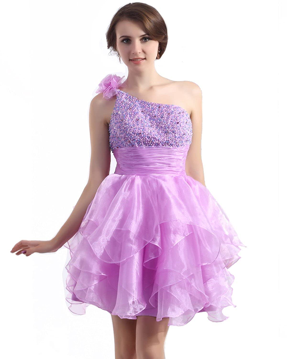 Vampal Lilac One Shoulder Beaded Bodice Homecoming Dresses With Flowers Details