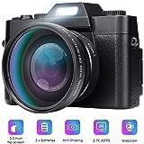 Digital Camera Vlogging Camera for YouTube 30MP Video Recorder Camcorder 180 Degree Rotation 3.0Inch LCD Screen 16X Digital Zoom KOMERY Interchangeable-Lens Digital Cameras, 2 Batteries