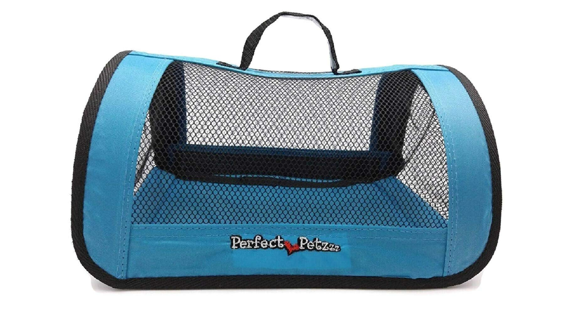 Perfect Petzzz Sturdy Blue Nylon and Mesh Zippered Tote For Carrying Your Plush Toy Pet by Perfect Petzzz