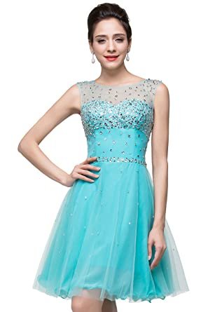 e7ba8f6ea94f Amazon.com: MisShow Sparkly A Line Scoop Short Prom Party Homecoming ...