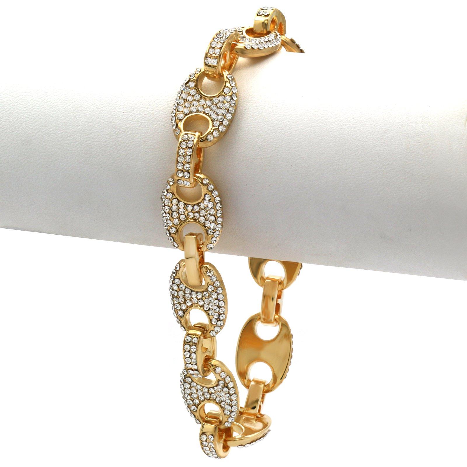 L & L Nation Gold Tone Square bizantine Link Iced Out Clear Cz Stones Hip Hop Bracelet 8.5'' Inch PLUS Cz Earrings SET