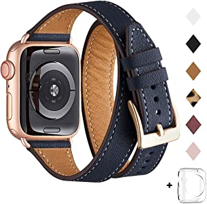 Bestig Band Compatible for Apple Watch 38mm 40mm 42mm 44mm, Genuine Leather Double Tour Designed Slim Replacement iwatch Strap for iWatch Series 5/4/3/2/1 (Dark Blue Band + RoseGold Adapter,38mm 40mm)