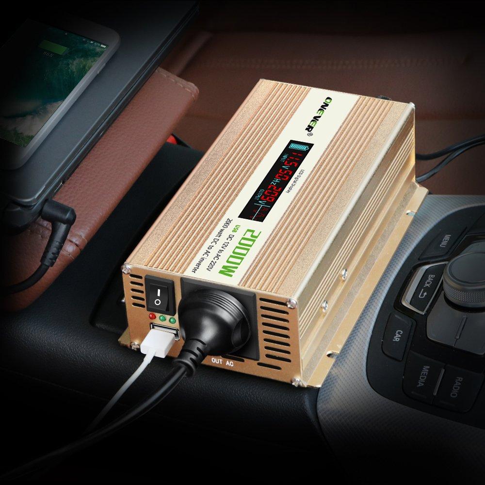 2400W Car Power Inverter convertitore DC 12V a 220V AC Converter Power Supply Onda di seno modificata di alimentazione con porta USB//Universal Plug//Intelligent Fan picco ONEVER 2000W