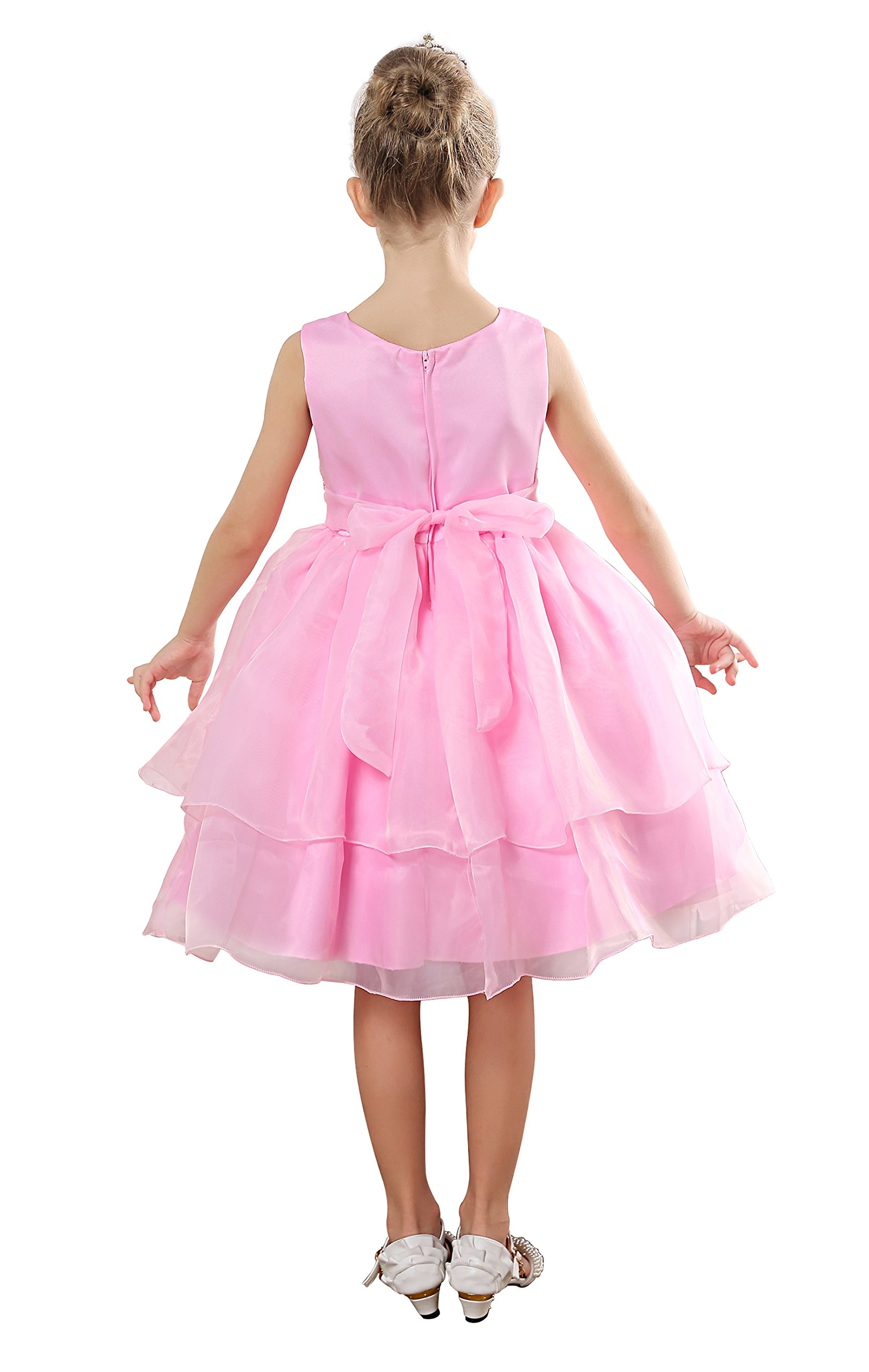Fiream Flower Girls Dresses Tulle Sleeveless Princess Pageant Wedding Party Dresses(pink,3T/3-4YRS) by Fiream (Image #2)