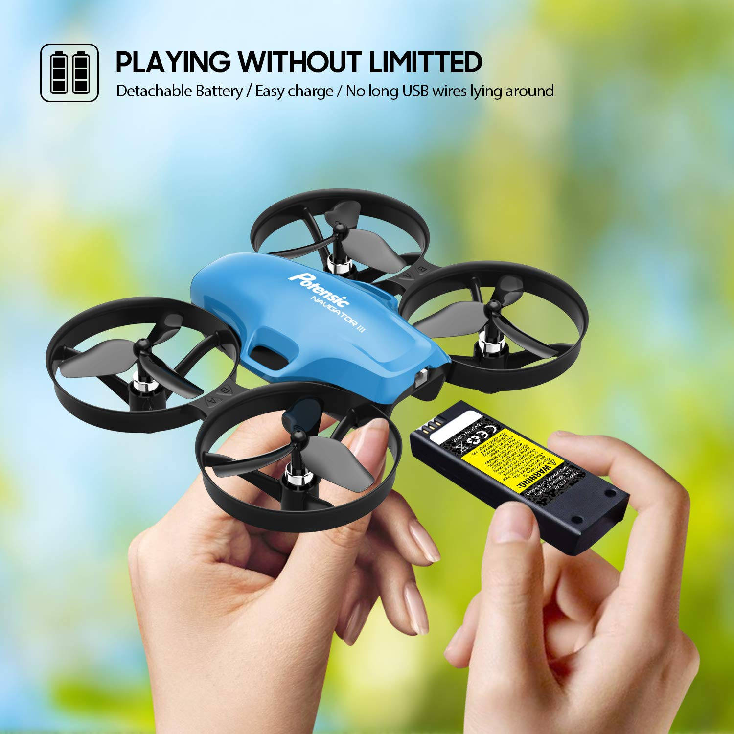Mini Drone, RC Quadcopter, Potensic A30 One Key Take-Off/Land,Emergency Stopped, Altitude Hold,Auto Hovering,Drone for Kids (Blue) by Potensic (Image #8)