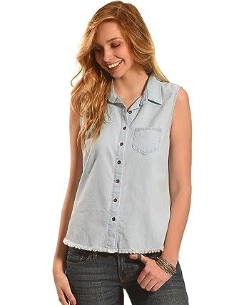 7b4294eb879 Derek Heart Women s Sleeveless Denim Button Down Shirt Plus Size Light Blue  XXX-Large