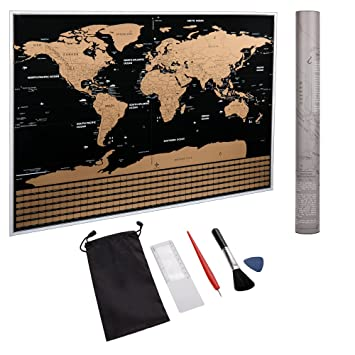 Amazoncom World Scratch Map Poster With US States And Country - Scratch map frame