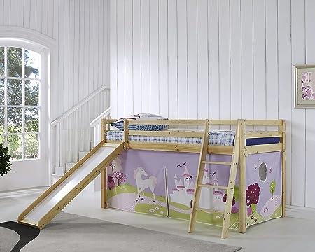 Reino Unido stock) CRAVOG niños litera cama con tobogán y escalera de madera cabaña de cama y colchón, natural, 17.5cm Memory Foam Mattress: Amazon.es: Hogar
