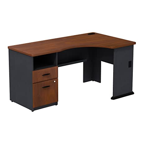 series corner desk. Series A Single Pedestal Corner Desk In Natural Cherry/Slate T