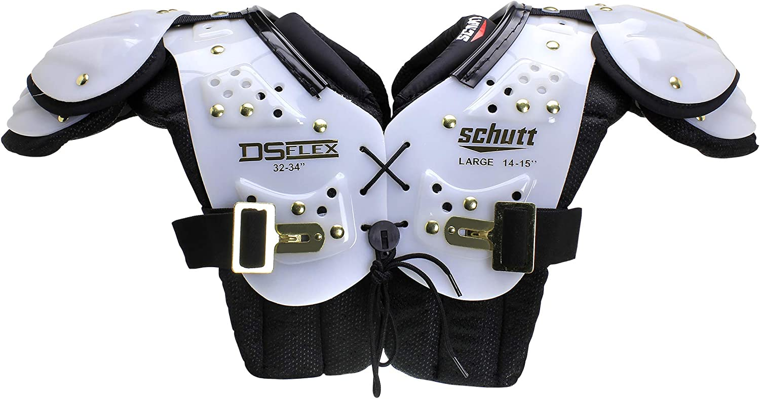 White//Gold Schutt Sports DS Flex 2.0 All-Purpose Youth Football Shoulder Pads