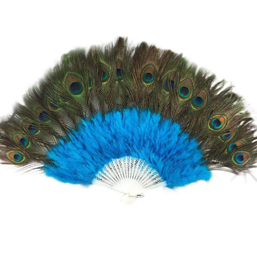 Pluma de pavo real plumas grande de porcelana demostrar Ventilador de plumas de baile boda Showgirl baile elegante plegable Mano Fan Decoración Decal lanspo