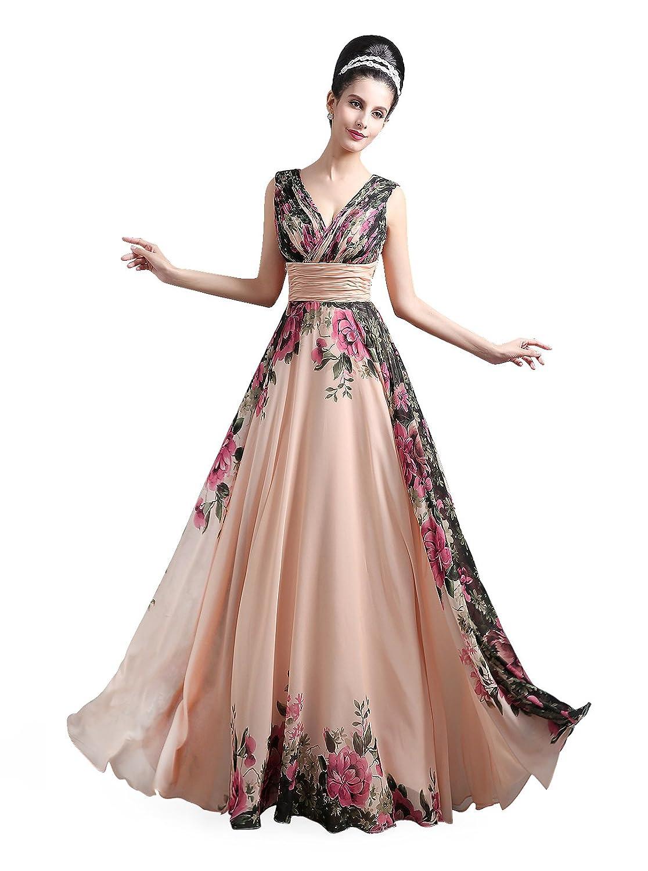 Babyonline® Damen Schnürung Ohne Arm V-Ausschnitt Blumenmuster Langes Party Abendkleid
