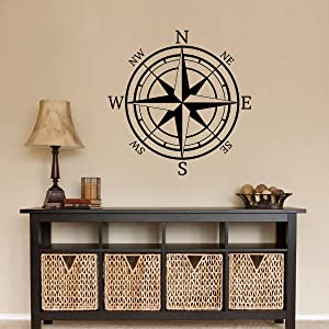 Tamengi Compass Decal Compass Rose Wall Decal Directional Wall Sticker Compass Wall Decal North South East West 40inch