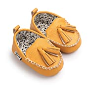 Sabe Winter Newborn Baby Girls Boys Tassels Velvet Soft Sole Loafer Shoes Prewalker Moccasin (0-6 Month, Yellow)