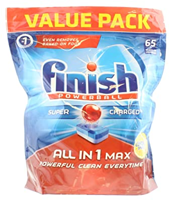 Pastillas para lavavajillas Finish All in 1, limón máximo, 65 ...