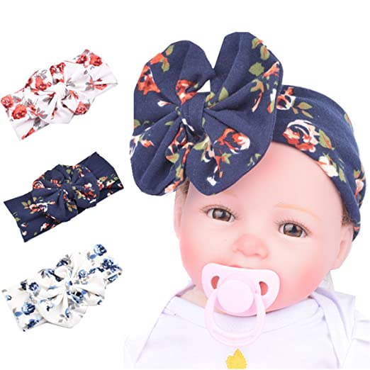 Baby Girl Headband Bunny Ears Bow Cute Bow Girls Head Wrap Turbar 3 Pcs