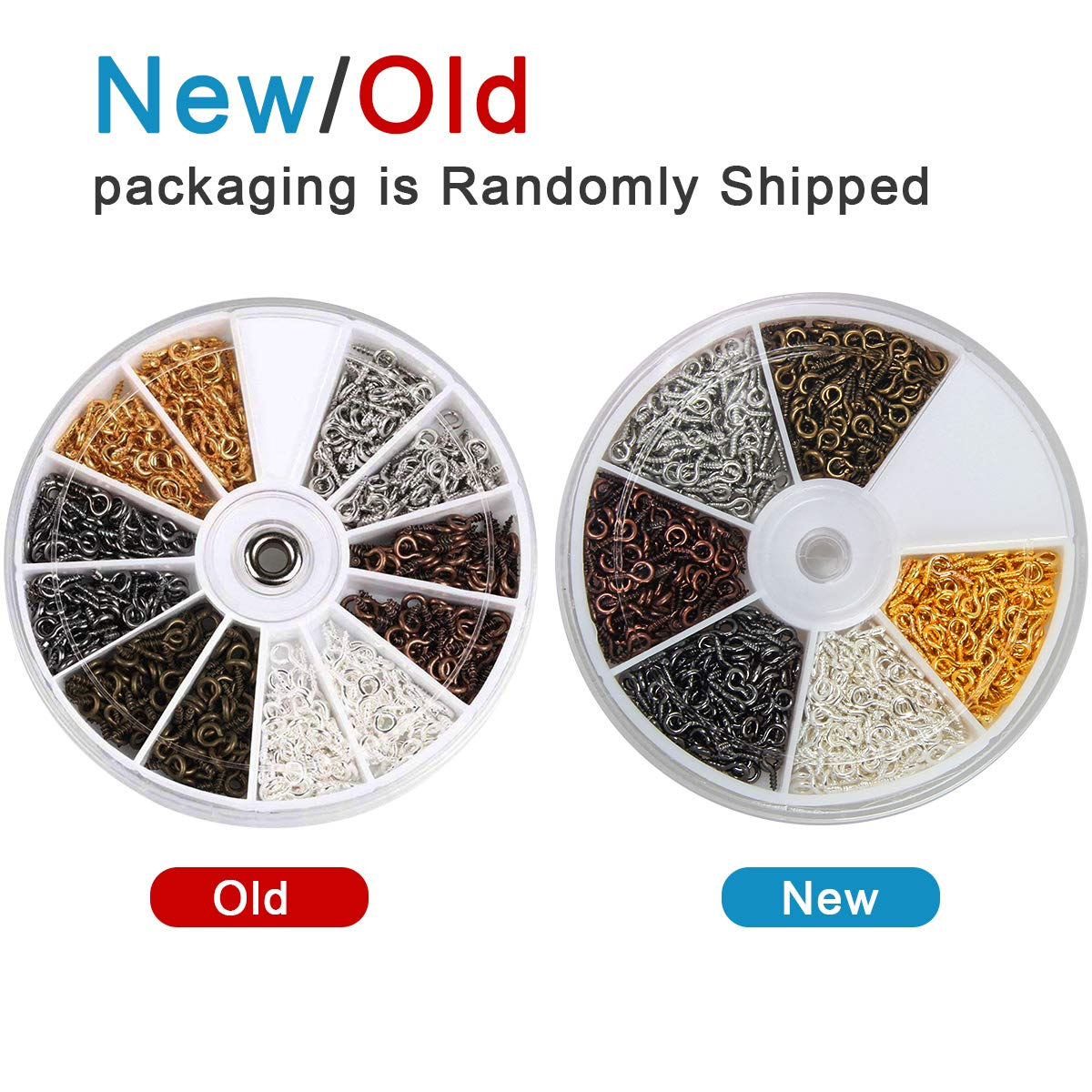 1200 Coolrunner 6 Colors 600-1200Pcs Small Screw Eye Pins Eyelets Screw Threaded Silver Clasps Hooks Eye Screws for Jewelry Making Eye pins Hooks