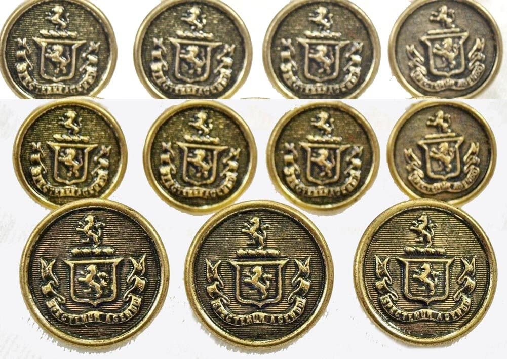 New WATERBURY Premium ANTIQUE BRASS ~CROWNED LION CREST~ METAL BLAZER BUTTON SET ~ 11-Piece Set of Shank Style Fashion Buttons For Single Breasted Blazers, Sport Coats, Jackets & Uniforms ~ METALBLAZERBUTTONS.COM