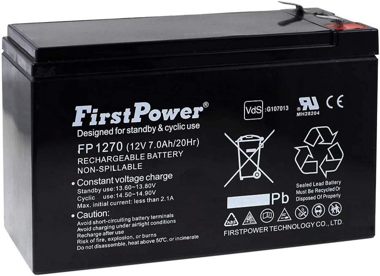FirstPower Batería de Gel para SAI APC RBC2 7Ah 12V