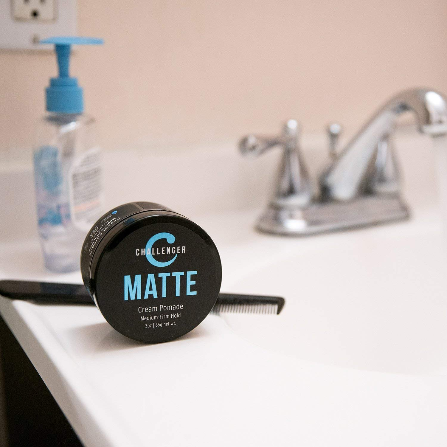 Matte Cream Pomade - Challenger 3oz - Medium Firm Hold - Water Based, Clean & Subtle Scent, Travel Friendly. Men's Hair Wax, Fiber, Clay, Paste, Styling Cream All In One by Challenger (Image #2)