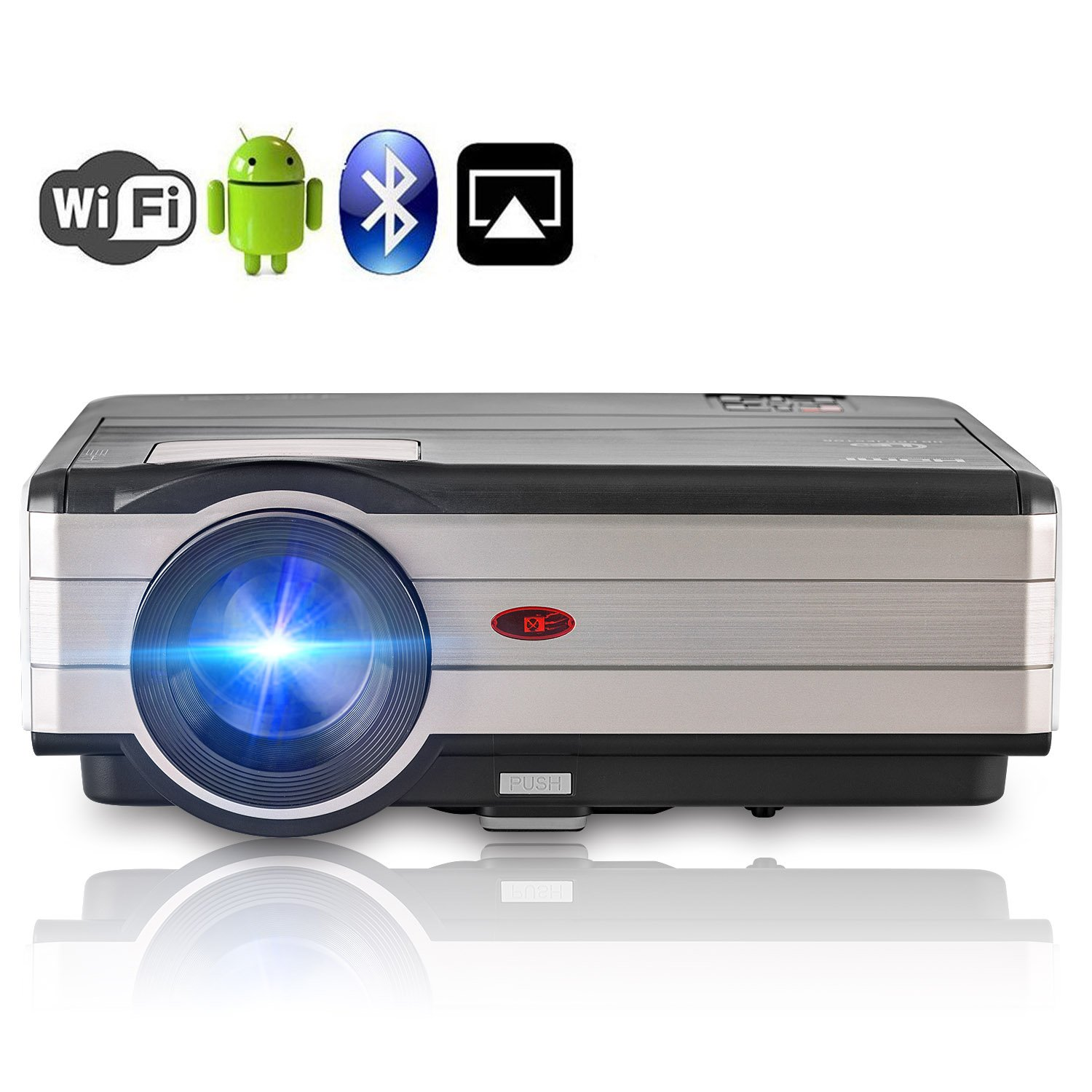 Android Projector WiFi Bluetooth Support Full HD 1080P, 3500 Lumen Home Theater Projector HDMI TV AV USB Audio Port for iPhone Smartphone, Video Projector for Indoor Outdoor Basement Backyard