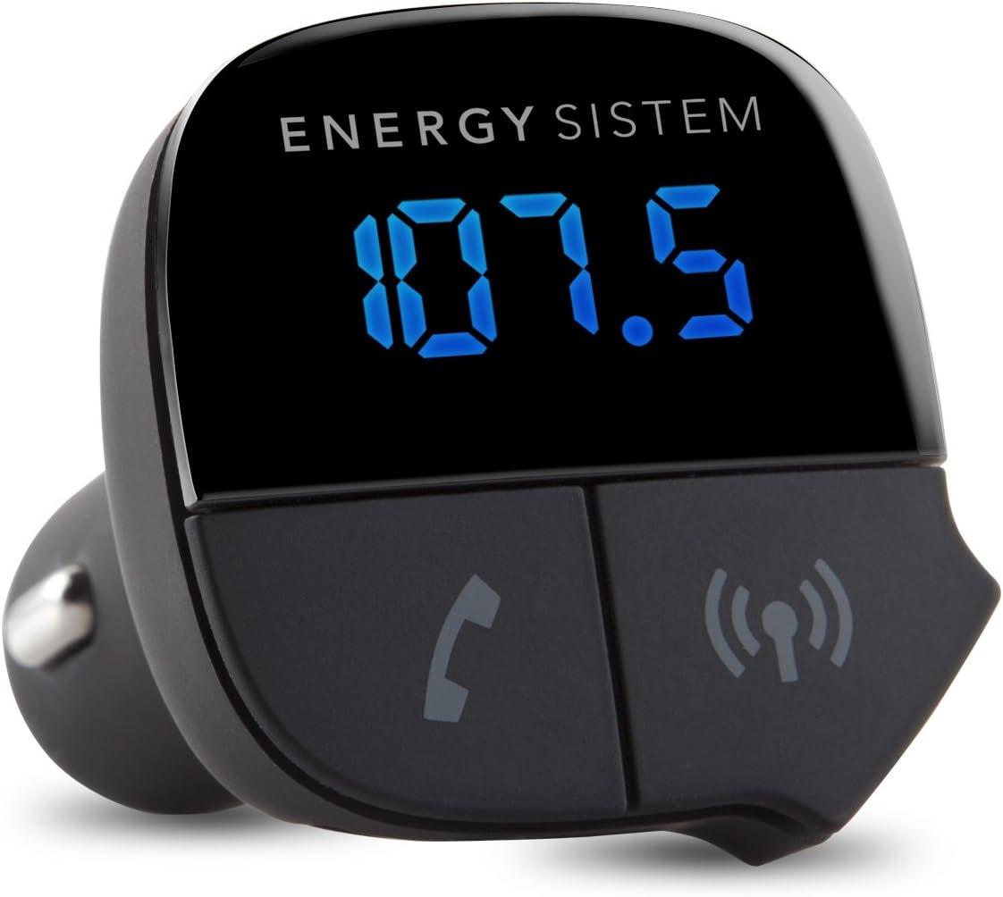 Energy Sistem Energy Car Transmitter - Reproductor MP3 con Bluetooth para el coche y transmisor FM (cargador USB, manos libres con micrófono integrado y pantalla), negro