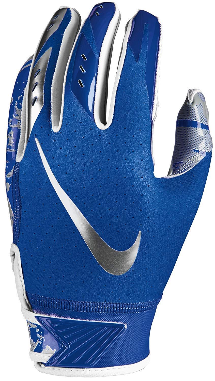 Boy's Nike Vapor Jet 5.0 Football Glove Game Royal/Chrome Size Small