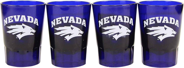 NCAA 4-Pack Full Color Plastic Stackable Team Logo Shot Glasses (Nevada Wolfpack)