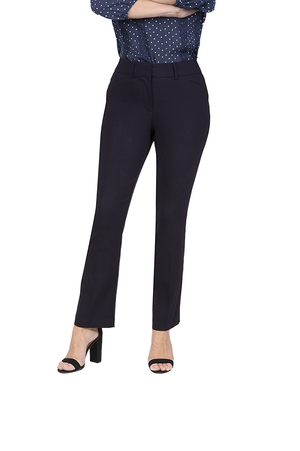Fundamental Things Women's Pull On Comfort Slight Boot Cut Pant Tummy Control