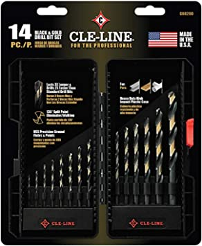 Letter Size B Drill Diameter Pack of 12 Cle-Line C18030 Heavy Duty Jobber Length Drill Straight Shank Black and Gold Finish 135-Degree Split Point High Speed Steel